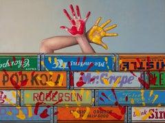 HANDIWORK, still life soda crates, blue, orange, hands up, painting