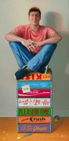 Myself As A Still Life, Contemporary Realist, Oil, Self-Portrait, Trompe l'oeil