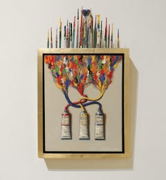 PRIMARY MIX, Paint Tubes, Still-Life, Installation, Red, Yellow, Blue, Brushes