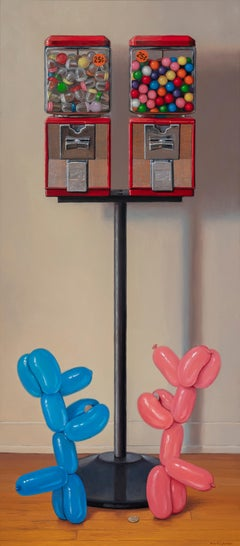 Quandary, Gumball Machine, Balloon Dogs, Blue and Red, Photorealism, Still Life