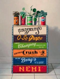 Repurpose, Contemporary Still Life, Oil Painting, Plants, Soda Can, Multicolored