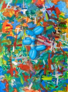 SACRIFICE, paint splatter backdrop, balloon dog, still life, vivid color