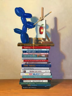 THE PAINTER, still-life, photo-realism, balloon dog, blue, art books