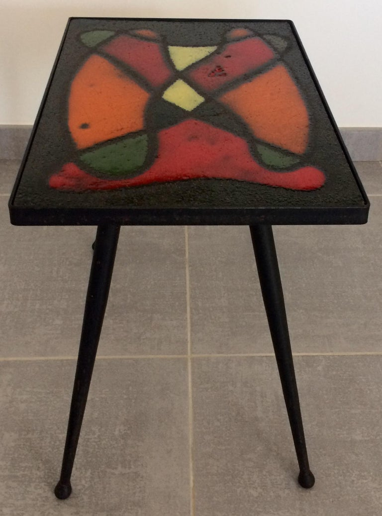 Glazed Robert and Jean Cloutier French Midcentury Ceramic Cocktail or Side Table For Sale