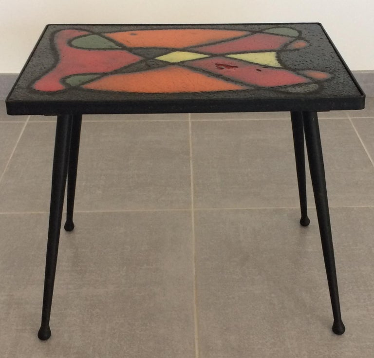 20th Century Robert and Jean Cloutier French Midcentury Ceramic Cocktail or Side Table For Sale