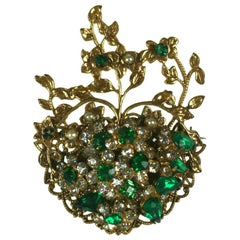 Robert Jeweled Emerald Crystal Heart Brooch