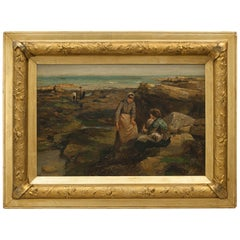 Robert Jobling Oil on Canvas of Two Girls on the Rocks