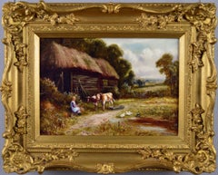 19th Century landscape oil painting of a farmyard