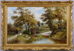 19th Century landscape oil painting of figures by a river