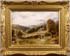 19th Century landscape oil painting of figures near a cottage