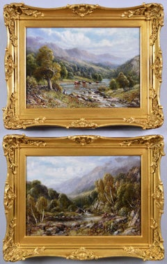 19th Century pair of Welsh & Scottish river landscape oil paintings