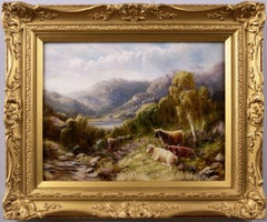 19th Century Scottish landscape oil painting of cattle