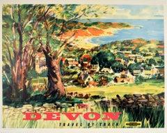 Original Vintage Poster Devon Travel By Train British Railways Countryside Beach