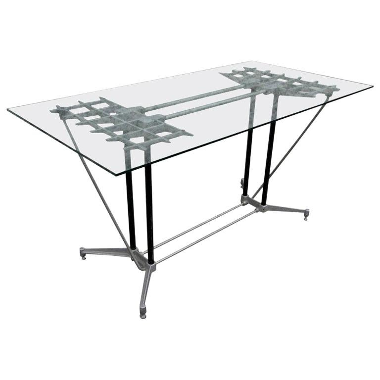 Robert Josten 1970s Metal Grid and Glass Desk with Wood Chair For Sale