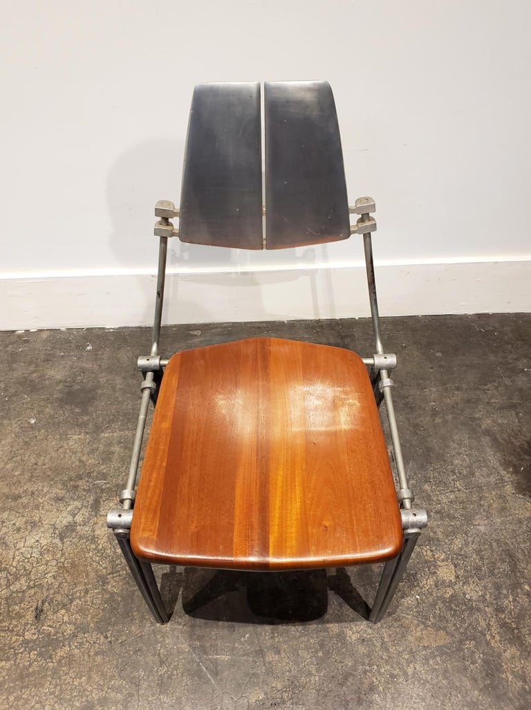 Robert Josten Aluminum and Maple Modern Industrial Dining Chairs Set of 8 In Good Condition For Sale In Dallas, TX