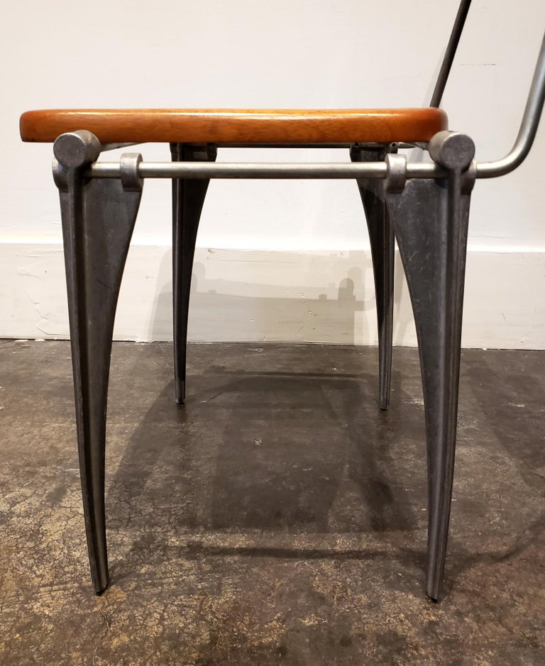 Robert Josten Aluminum and Maple Modern Industrial Dining Chairs Set of 8 For Sale 1