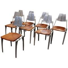 Robert Josten Aluminum and Maple Modern Industrial Dining Chairs Set of 8