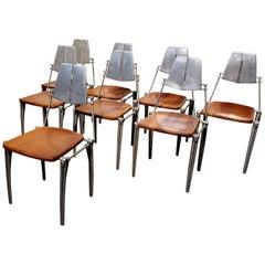Robert Josten Aluminum and Maple Modern Industrial Dining Chairs Set of 8
