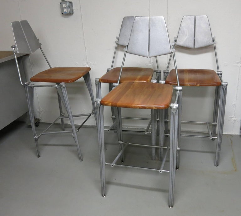 Robert Josten Barstools Set of Four Aluminum and Maple For Sale 6
