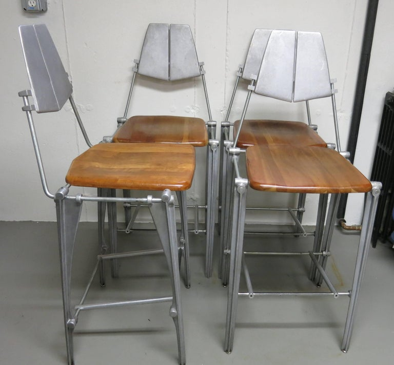 American Robert Josten Barstools Set of Four Aluminum and Maple For Sale