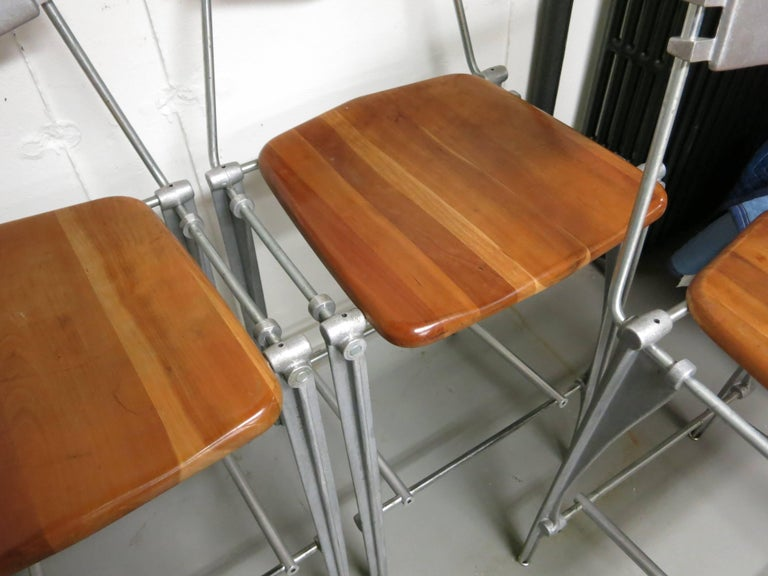 Robert Josten Barstools Set of Four Aluminum and Maple For Sale 3
