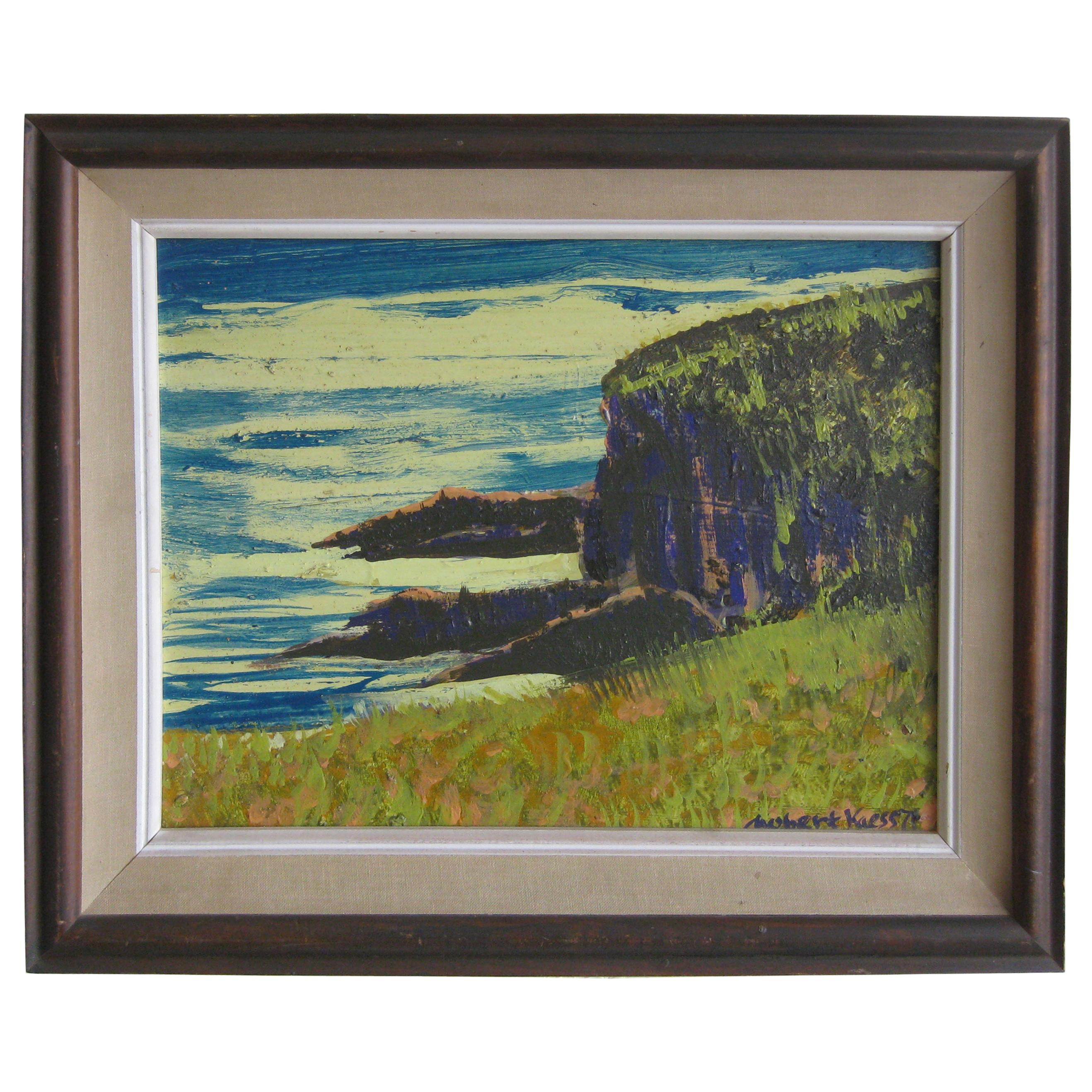 Robert Kaess California Listed Artist Abstract Seascape Oil Painting