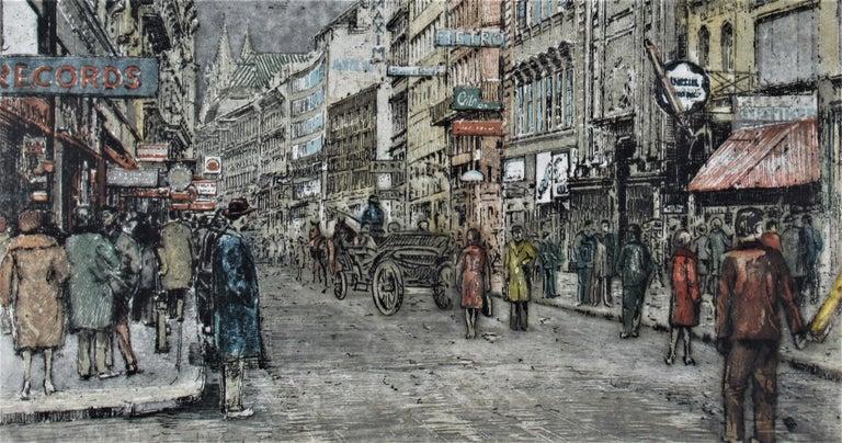 Busy Street, Vienna - Realist Print by Robert Kasimir