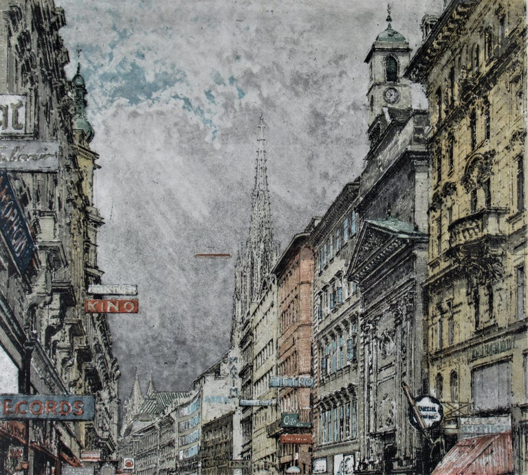 Busy Street, Vienna - Gray Figurative Print by Robert Kasimir
