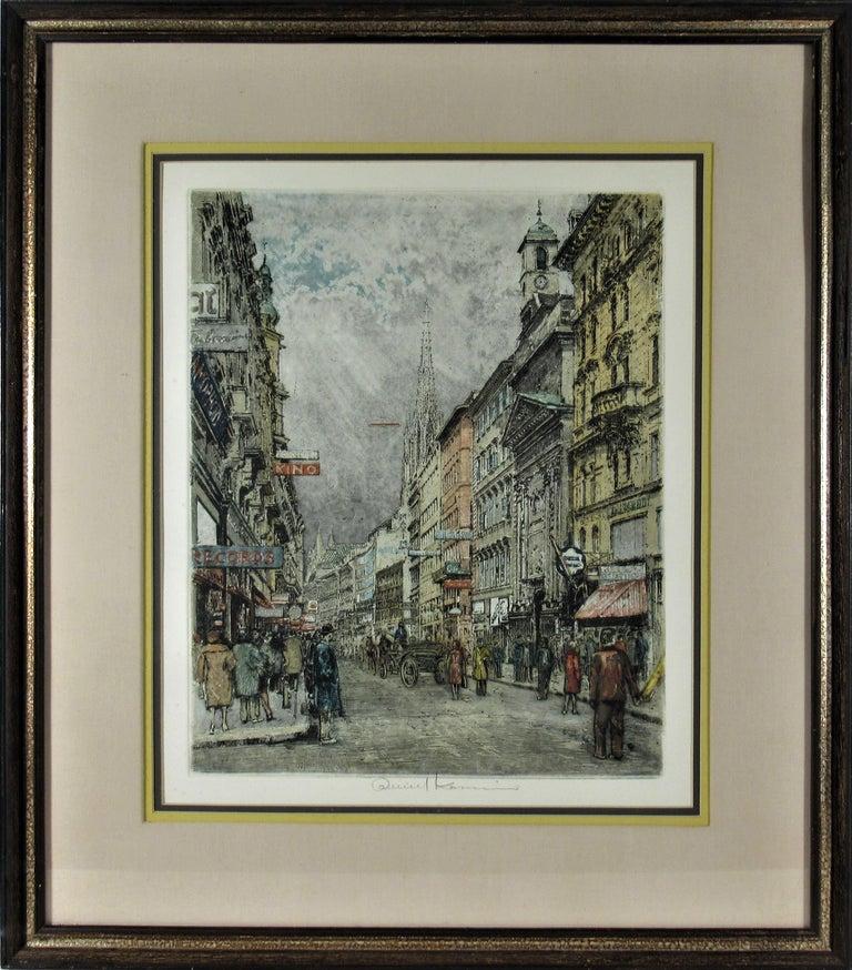 Robert Kasimir Figurative Print - Busy Street, Vienna