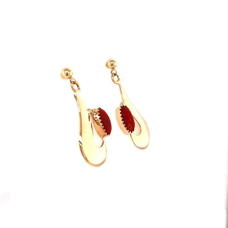 Native American Robert Kelly Yellow Gold Coral Earrings For Sale