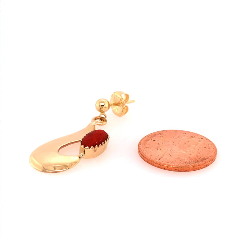 Women's Robert Kelly Yellow Gold Coral Earrings For Sale