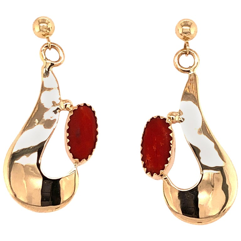 Robert Kelly Yellow Gold Coral Earrings For Sale