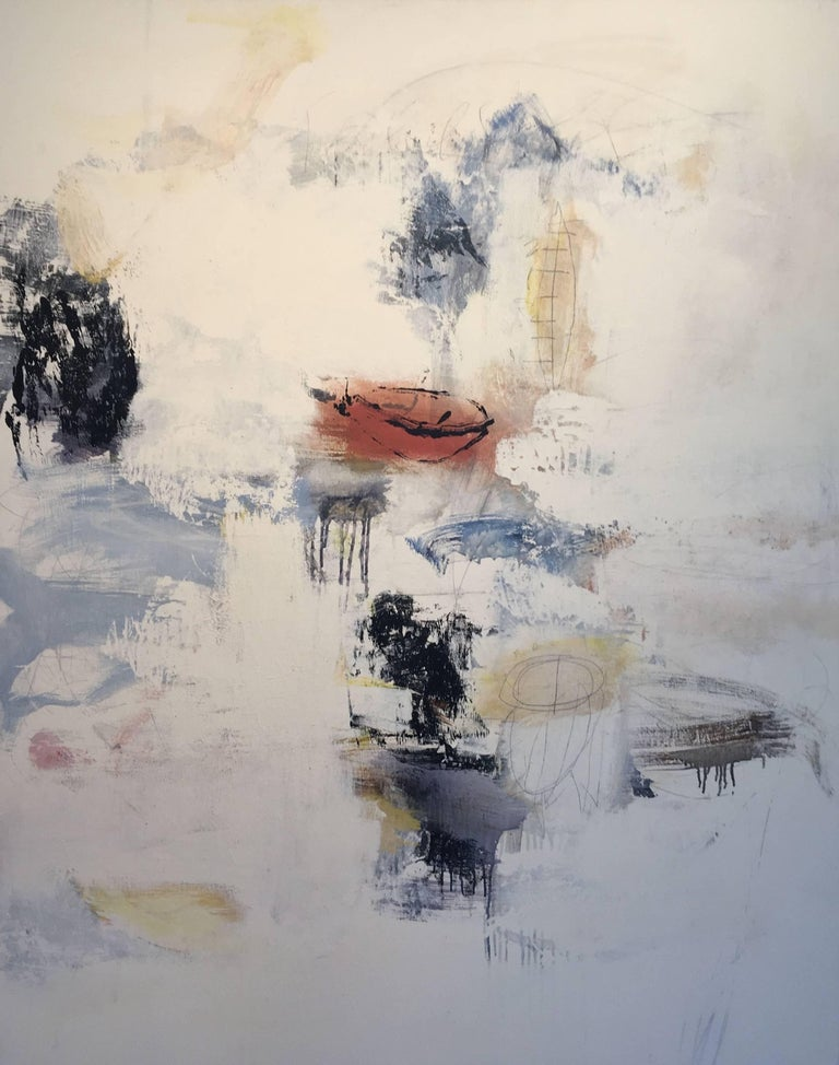 """Abstract painting by Robert Kingston features splashes of color and etched forms set against a neutral background. Signed and dated on back.  Robert Kingston views his lyrical, abstract paintings as """"meandering journeys."""" """"I look at my work as the"""