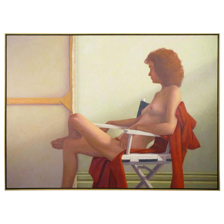"""Robert Kinsell 56"""" x 41"""" Oil Painting Of Nude Woman At Repose"""