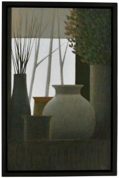 Window w/vases & Leaves