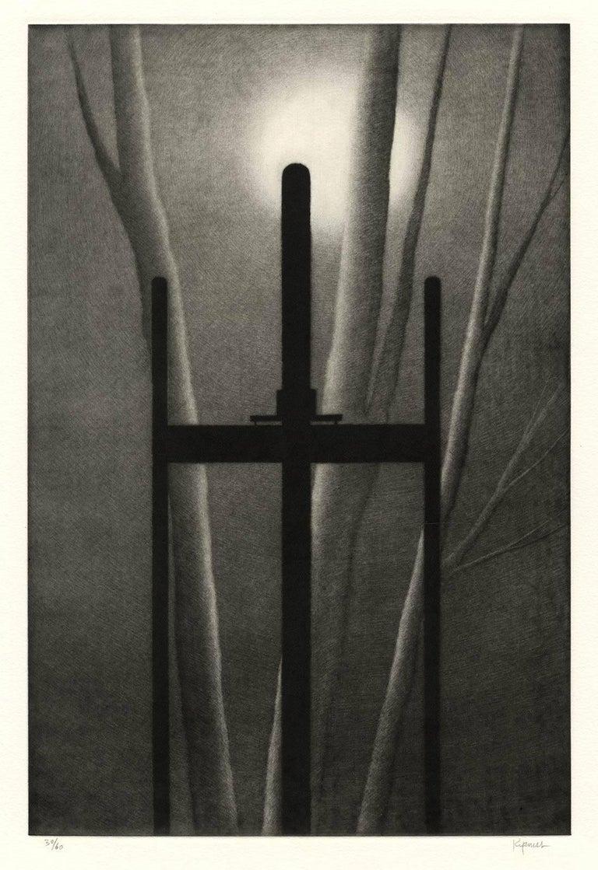 Robert Kipniss Print - Easel and Tree with Moon