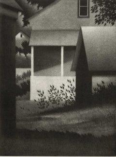 Evening with White Porch (a calm suburban setting)