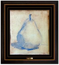 Robert Kulicke Original Painting Glazed Ceramic Tile Still Life Fruit Signed Art