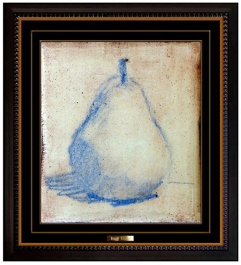 Robert Kulicke Original Painting Glazed Ceramic Tile Still Life Fruit Signed Art - Black Still-Life Painting by Robert Kulicke