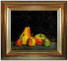 Robert Kulicke Original Painting Oil On Board Fruit Still Life Signed Framed Art