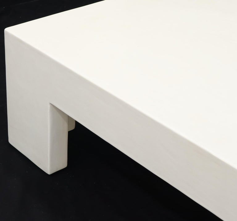 Robert Kuo Large Square White Enamel Lacquer Coffee Table For Sale 2