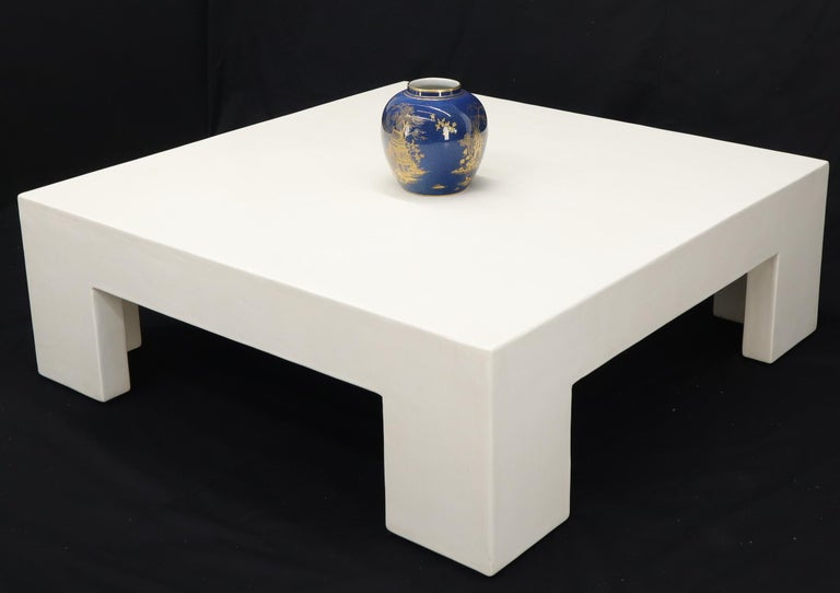 Robert Kuo Large Square White Enamel Lacquer Coffee Table For Sale 4