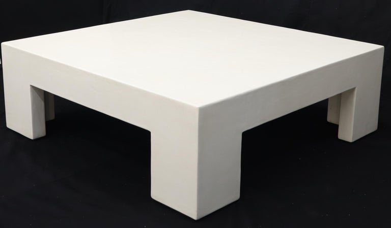 American Robert Kuo Large Square White Enamel Lacquer Coffee Table For Sale