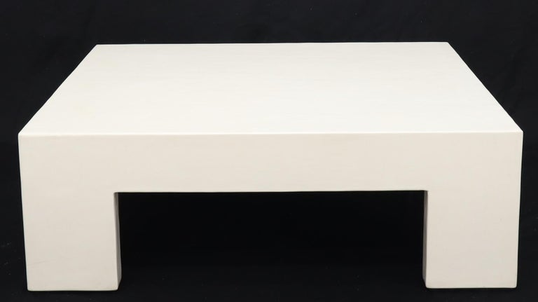 Enameled Robert Kuo Large Square White Enamel Lacquer Coffee Table For Sale
