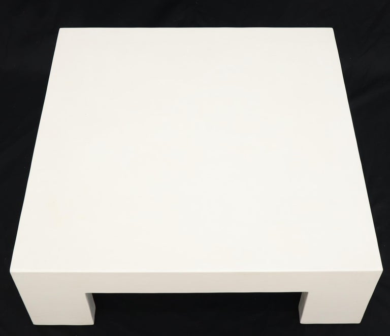 Robert Kuo Large Square White Enamel Lacquer Coffee Table In Excellent Condition For Sale In Rockaway, NJ