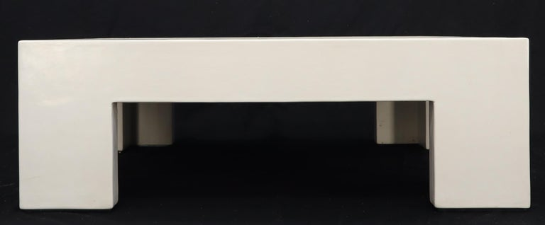 20th Century Robert Kuo Large Square White Enamel Lacquer Coffee Table For Sale