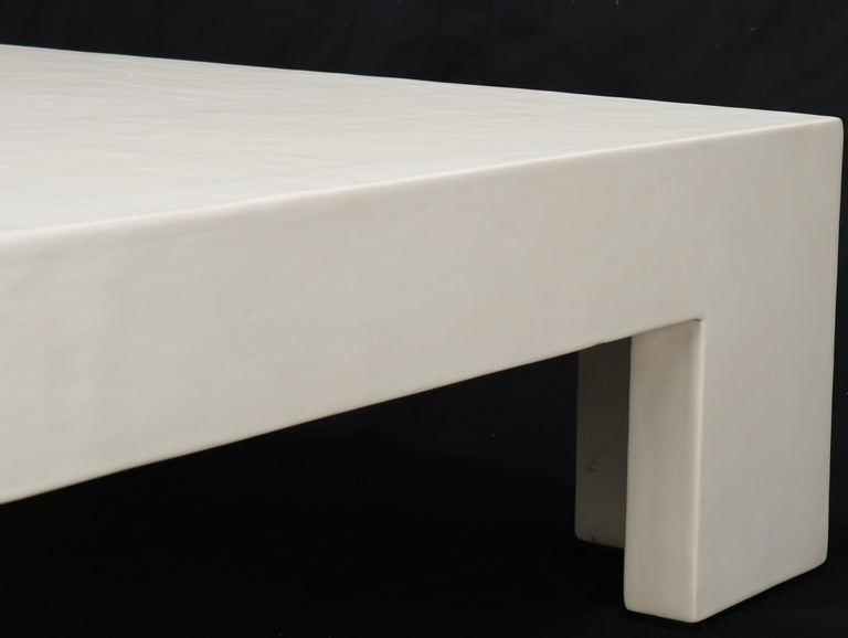 Hardwood Robert Kuo Large Square White Enamel Lacquer Coffee Table For Sale