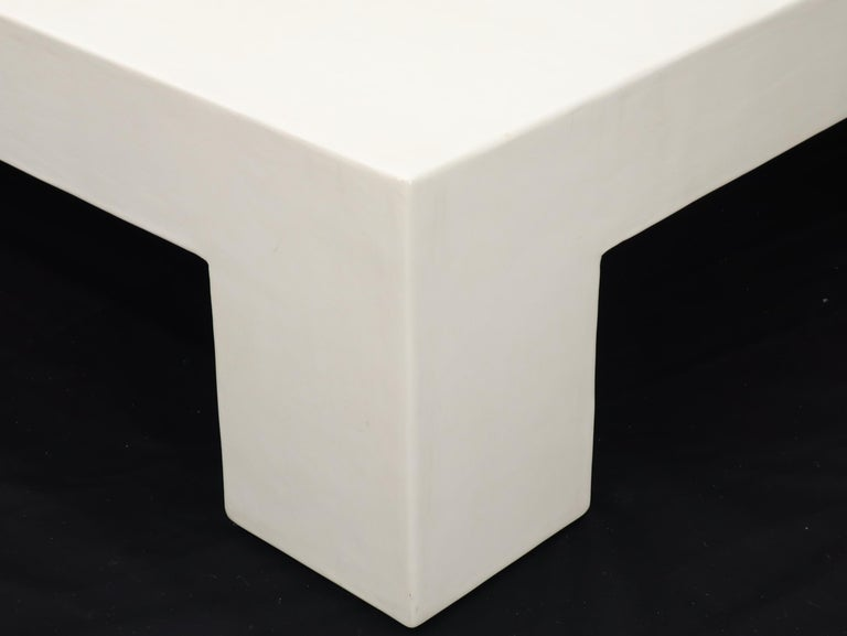 Robert Kuo Large Square White Enamel Lacquer Coffee Table For Sale 1
