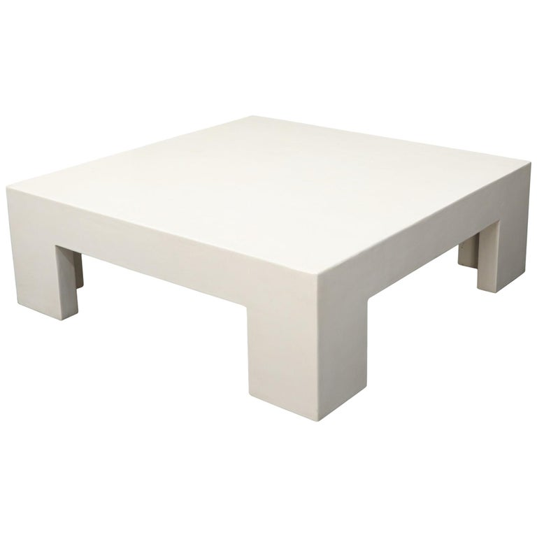 Robert Kuo Large Square White Enamel Lacquer Coffee Table For Sale
