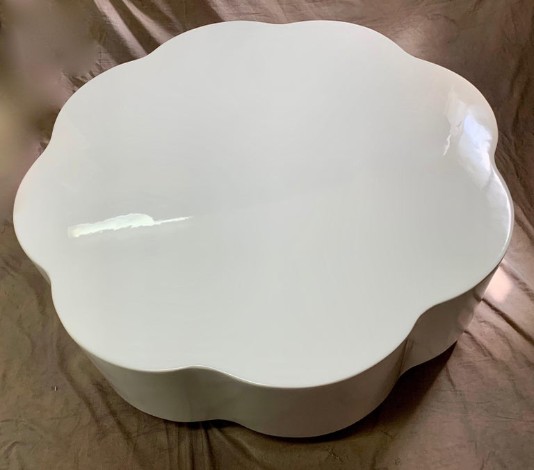 Robert Kuo Leaf Design Lacquered Cocktail Table For Sale 4